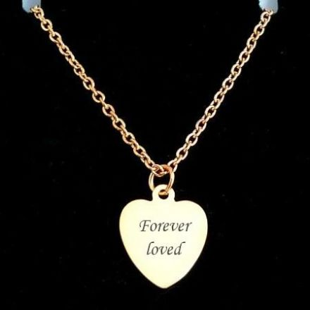 Engraved Heart Memorial Necklace in Rose Gold